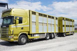 SCANIA R164 V8, 6x2, 2 hydraulic decks, 70m2 , live stock  Pferdetransporter LKW + Viehanhänger